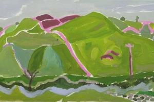 24-Green-dutch-barn-59cm-x-126cm-Acrylic-on-paper