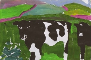 44-Black-and-white-cattle-21cm-x-30cm-Acrylic-on-paper