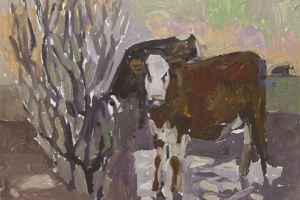 45-Cattle-standing-in-water-32cm-x-45cm-Acrylic-on-paper