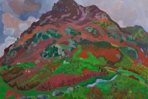 Plein air painting of Grasmoor fell with Crummock Water and Red Pike behind.