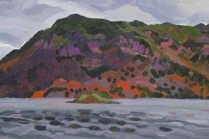 Plein air painting from the lakeside near Glencoyne farm at Ullswater near Glenridding