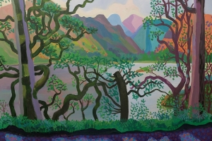 Through trees at Ullswater, below Gowbarrow looking across to Place Fell and St Sunday Crag. 2020